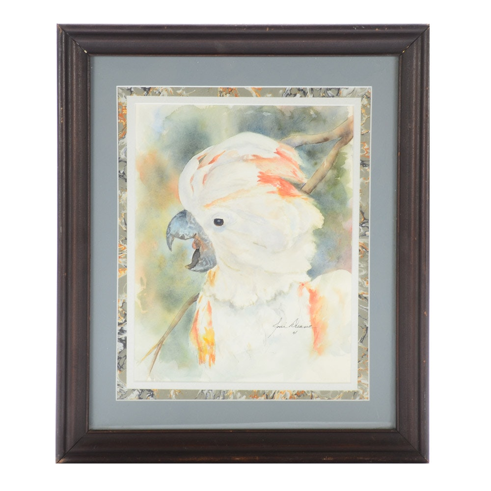 Signed 2001 Watercolor Portrait of Cockatoo on Paper