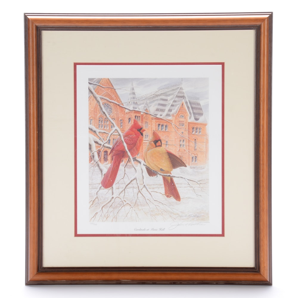 "John Ruthven Limited Edition Offset Lithograph ""Cardinals at Music Hall"""