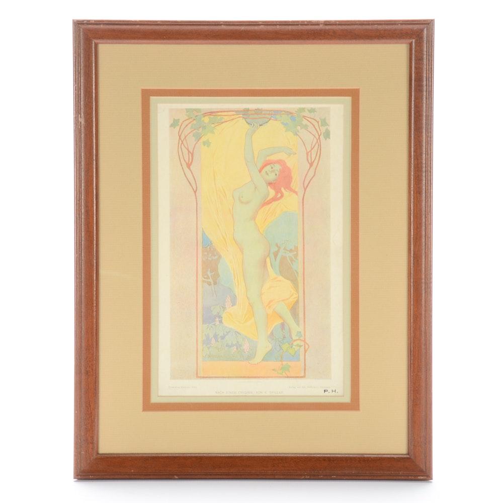 "Vintage Art Nouveau Offset Lithograph after Von K. Spillar ""Tanzerin"""