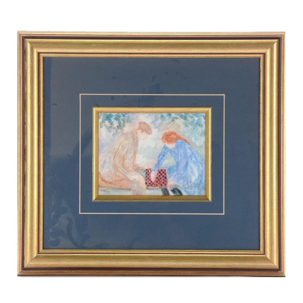 Barbara Wood Limited Edition Offset Lithograph of Couple Playing Checkers
