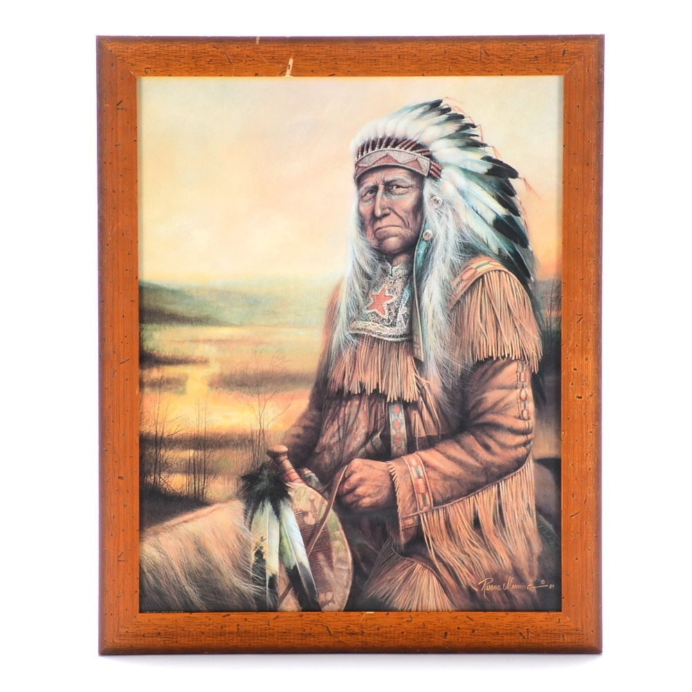 Offset Lithograph Print after Ruane Manning of Native American Chief