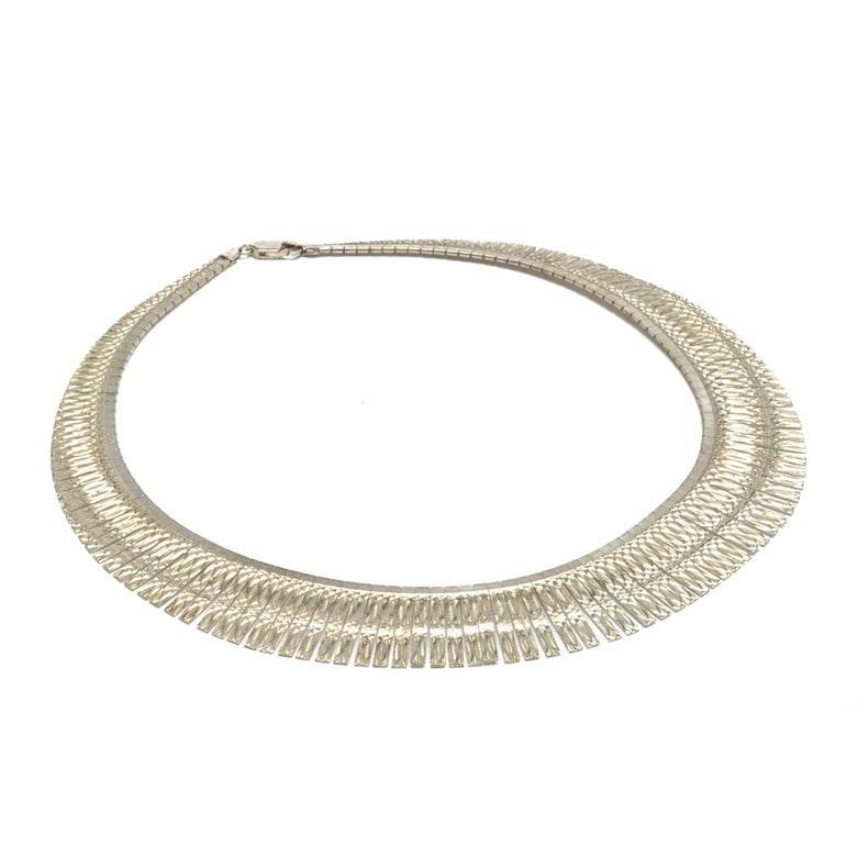Sterling Silver Italian Chain Bib Necklace