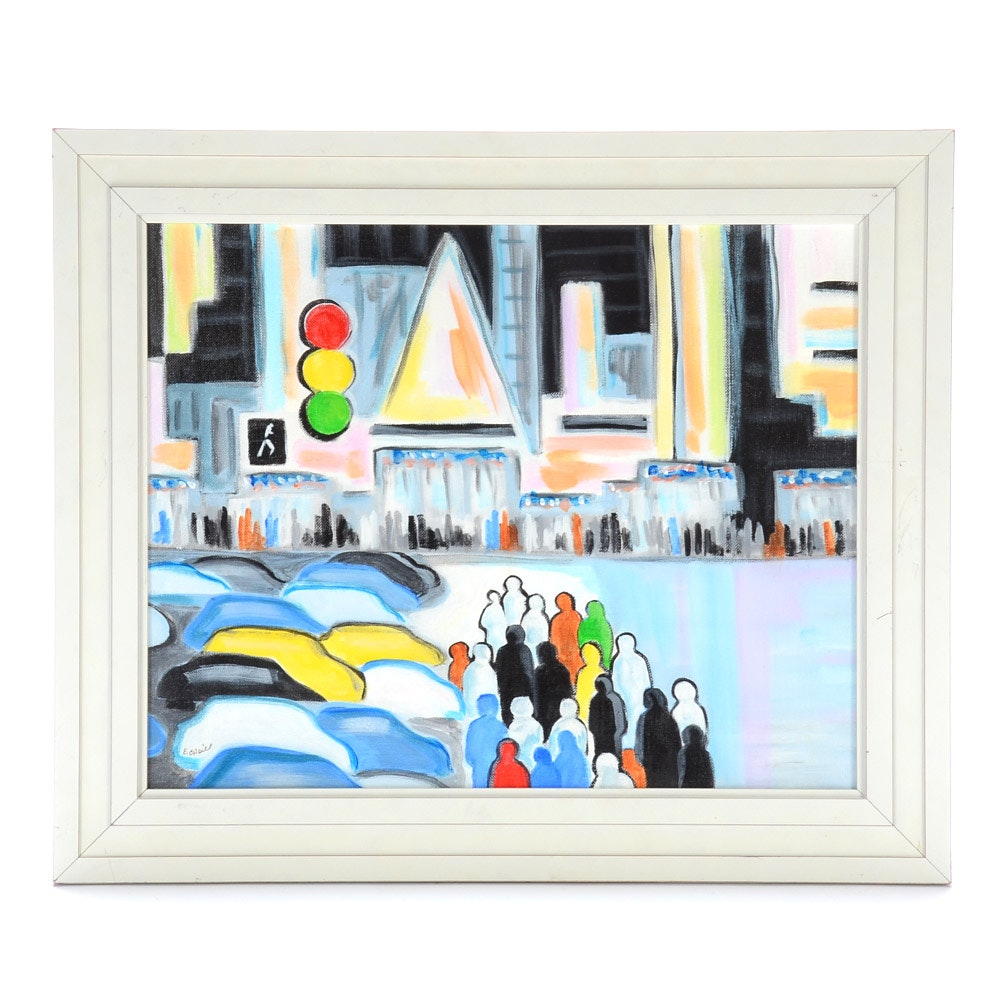 Elizabeth O'Neill Original Acrylic on Canvas Street Scene