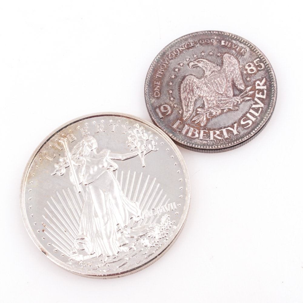 .999 Fine Silver St. Gaudens Replica Medal and 1985 Liberty Silver Medal