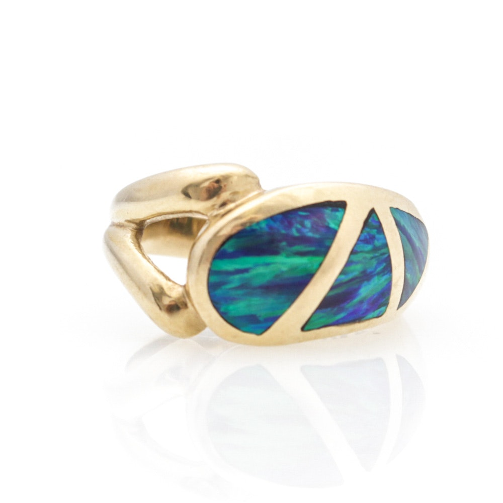 14K Gold Ring with Australian Opal Inlay