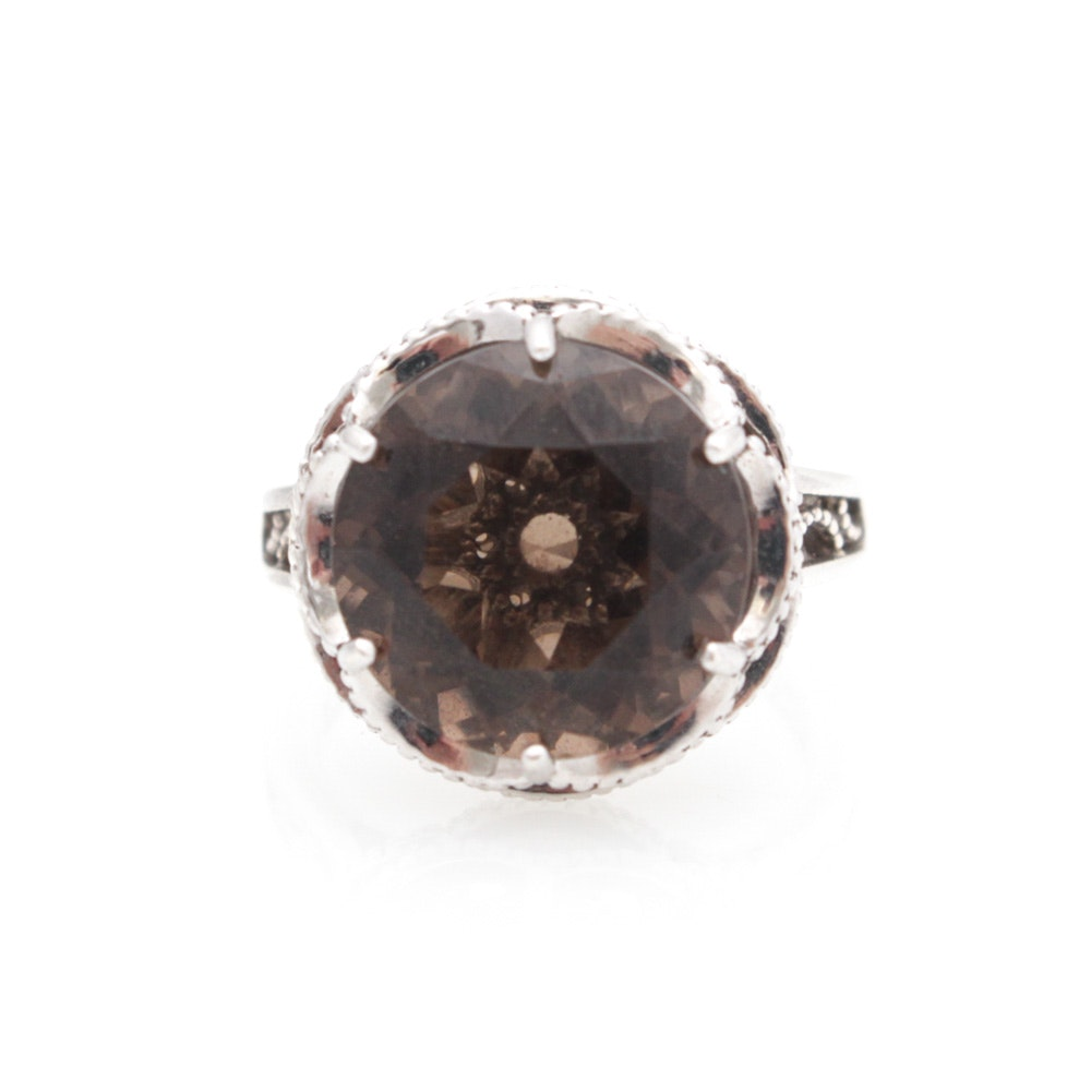 "Tacori ""Truffle"" Sterling Silver Smoky Quartz Ring with 18K Yellow Gold Accents"