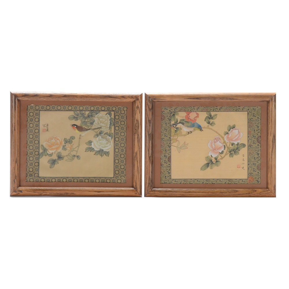 Pair of Mid-Century Chinese Gouache Paintings on Silk