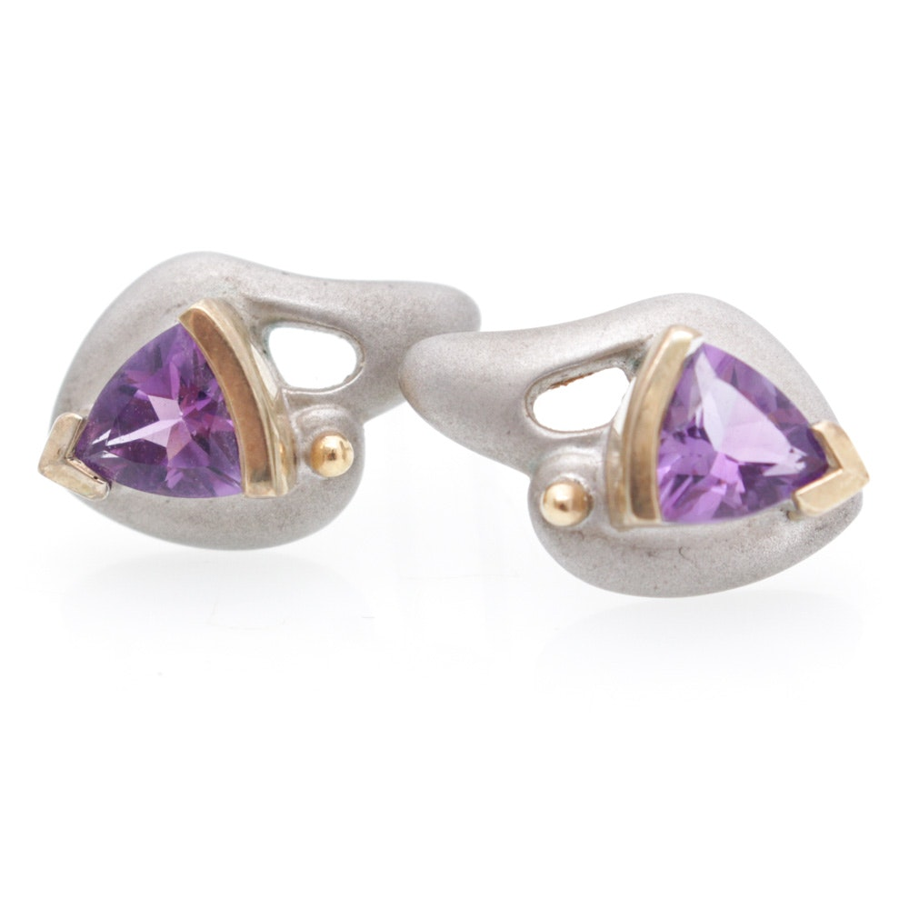 Sterling Silver Amethyst Earrings with 18K Yellow Gold Accents