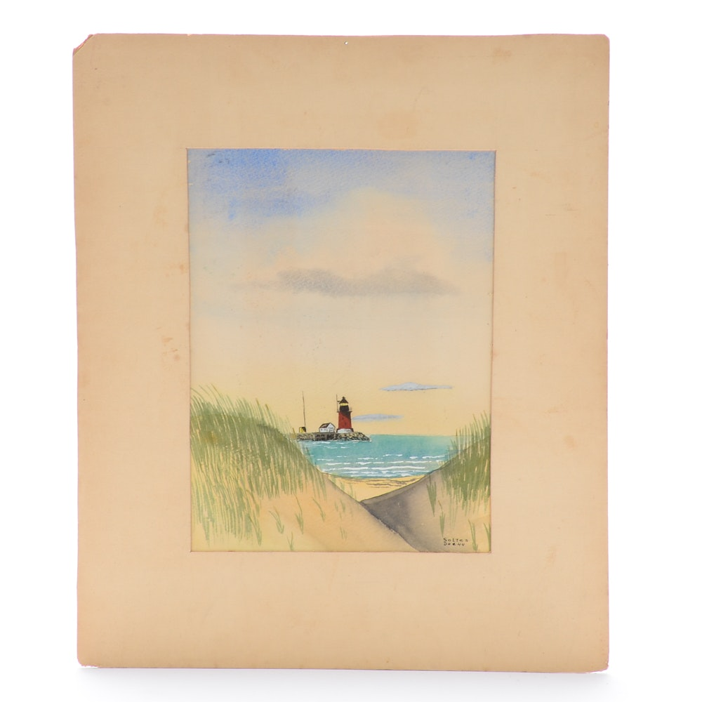 J. Soltes Vintage Watercolor Painting of a Lighthouse