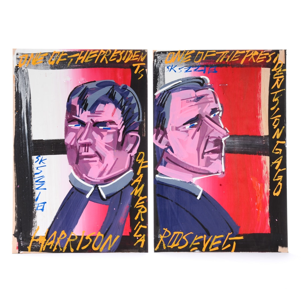 Pair of Steve Keene Original Acrylic Paintings on Board of Presidents