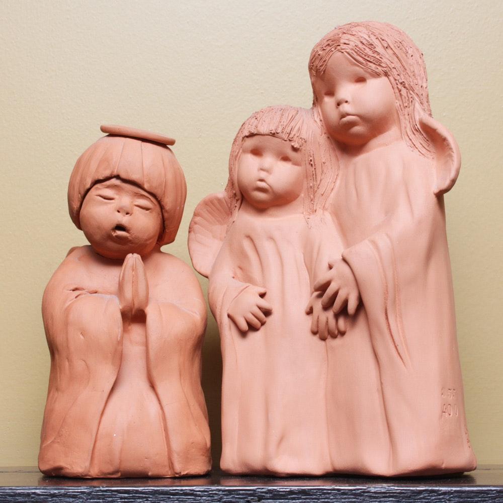Signed Ann Entis Terracotta Sculptures
