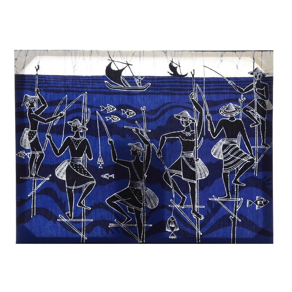 Hand-Dyed Folk Art Batik Textile