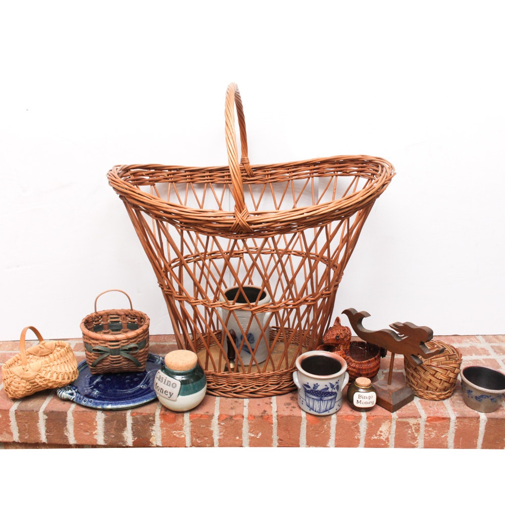 Vintage Artisanal Ceramics and Baskets