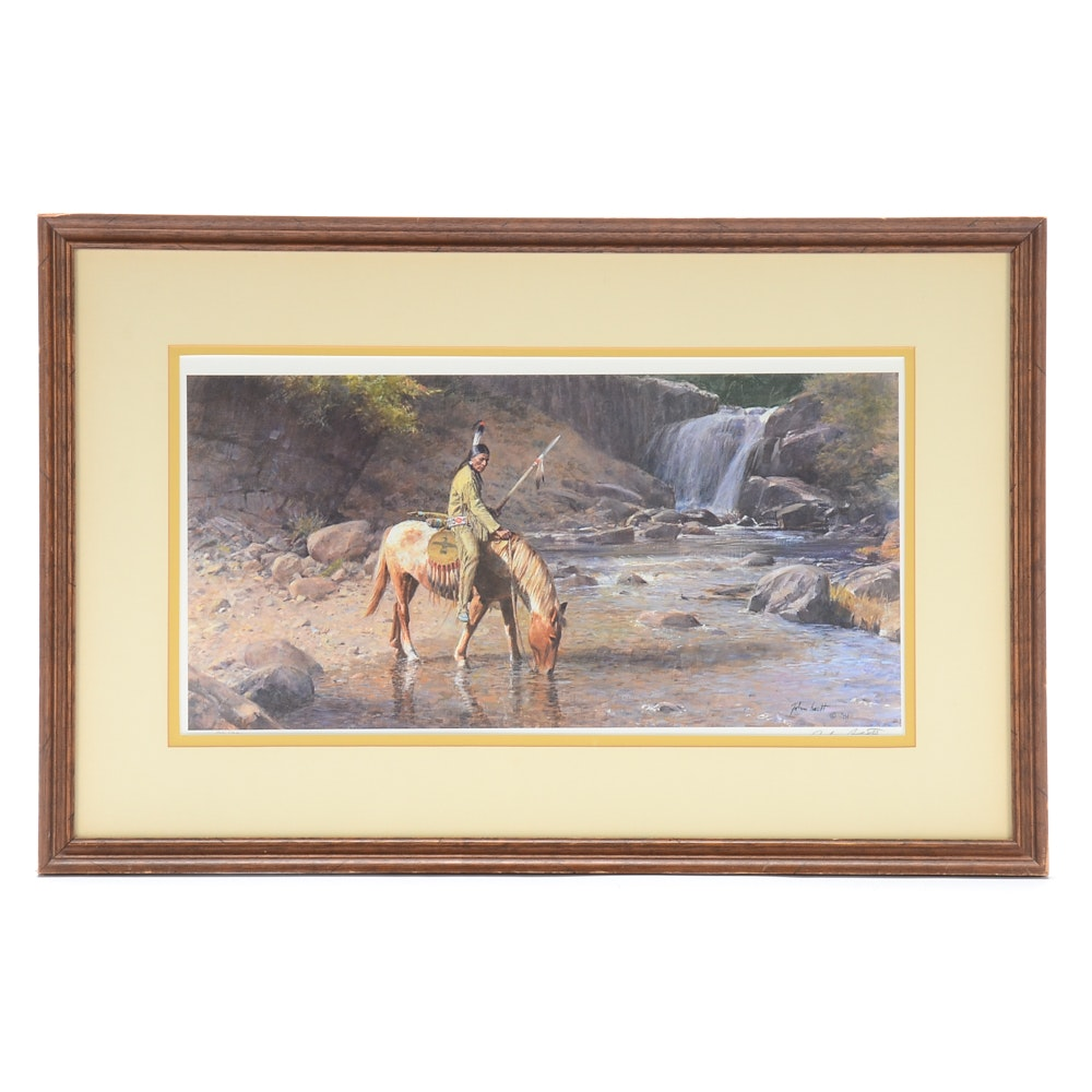 """John Scott Signed Limited Edition Offset Lithograph """"The Waterfall"""""""