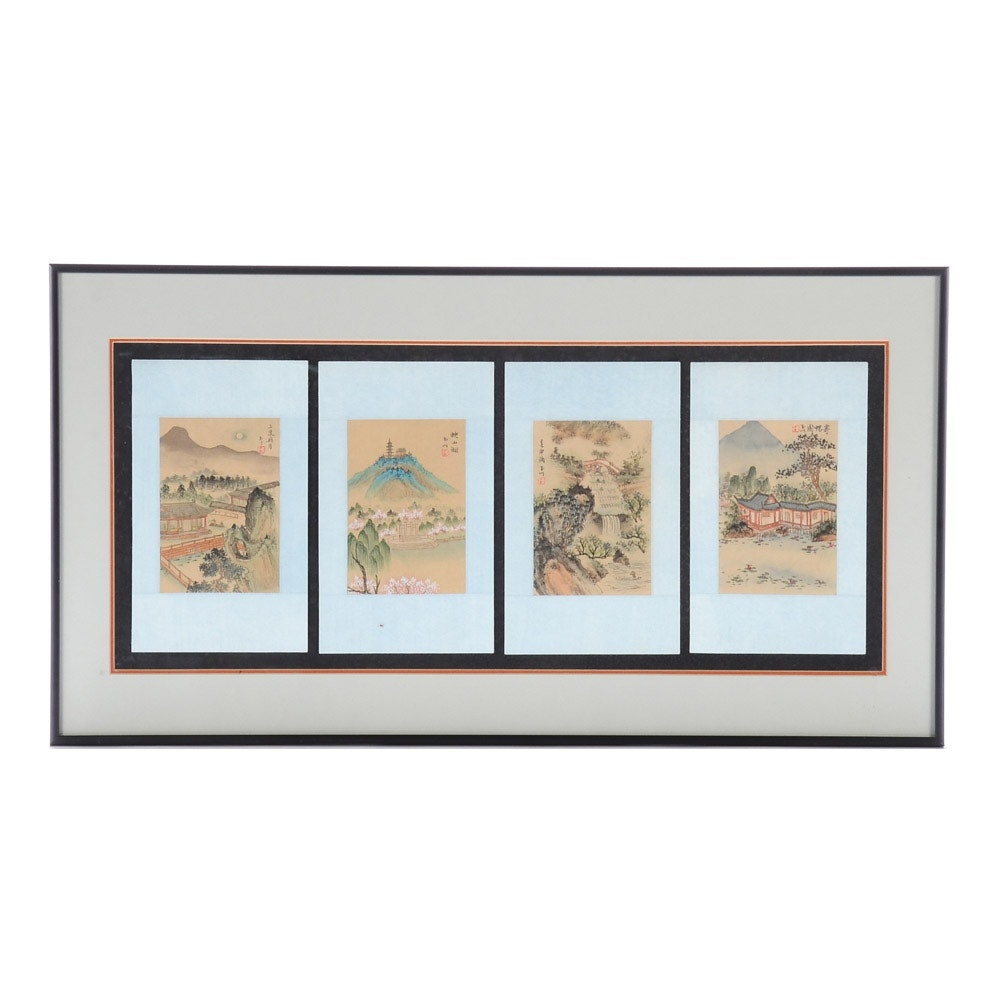 Chinese Gouache Paintings on Silk Quadriptych