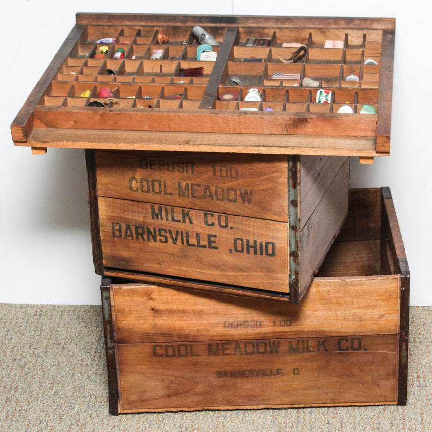 Vintage Wood Milk Crates And Typesetters Tray