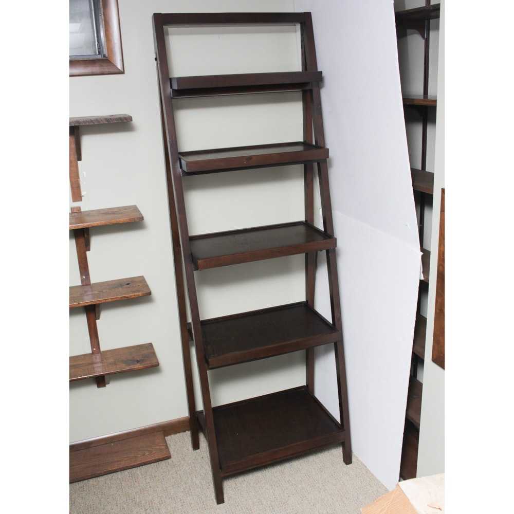 Contemporary Wooden Ladder Bookcase