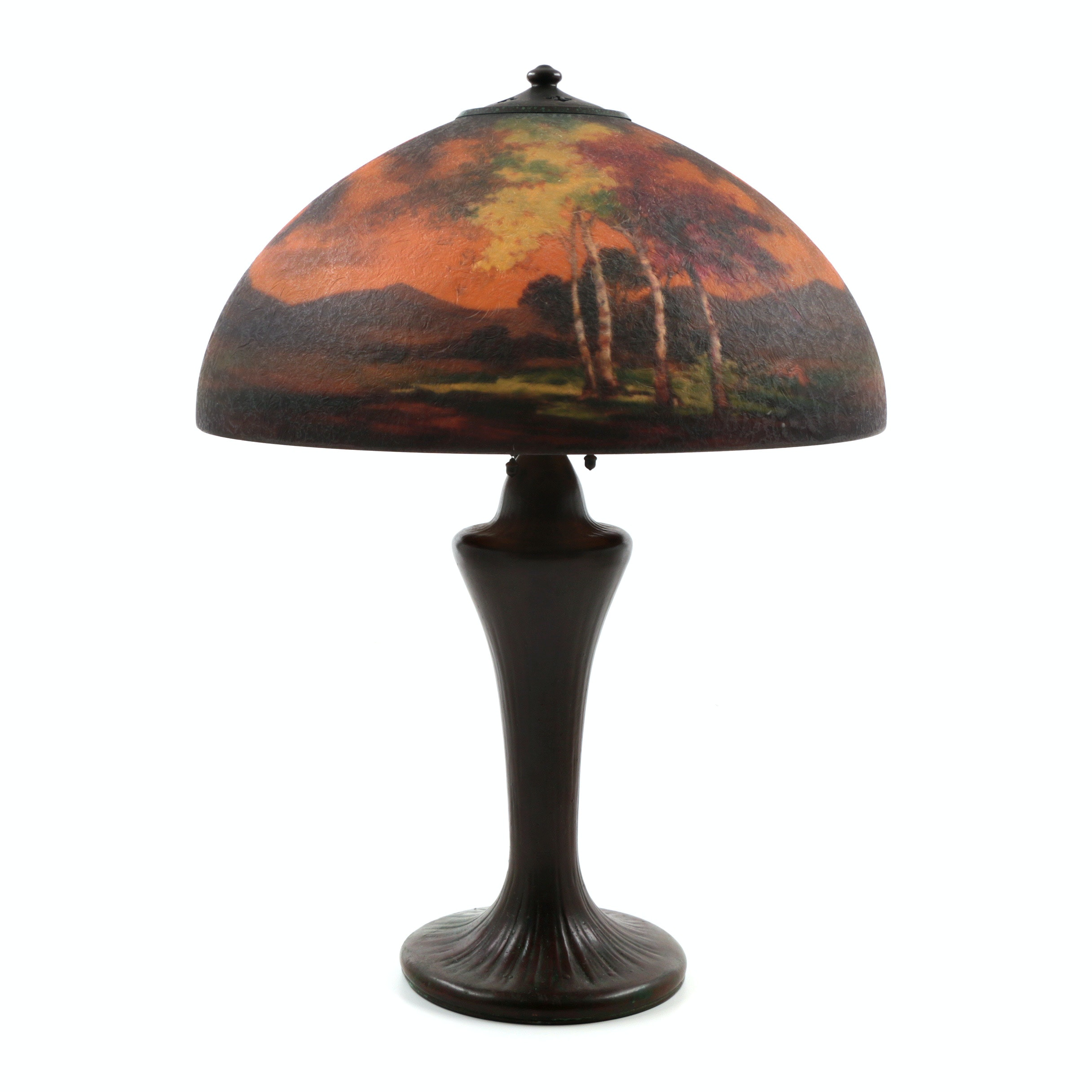 Handel Table Lamp with Reverse Painted Glass Shade Signed By Peter Broggi