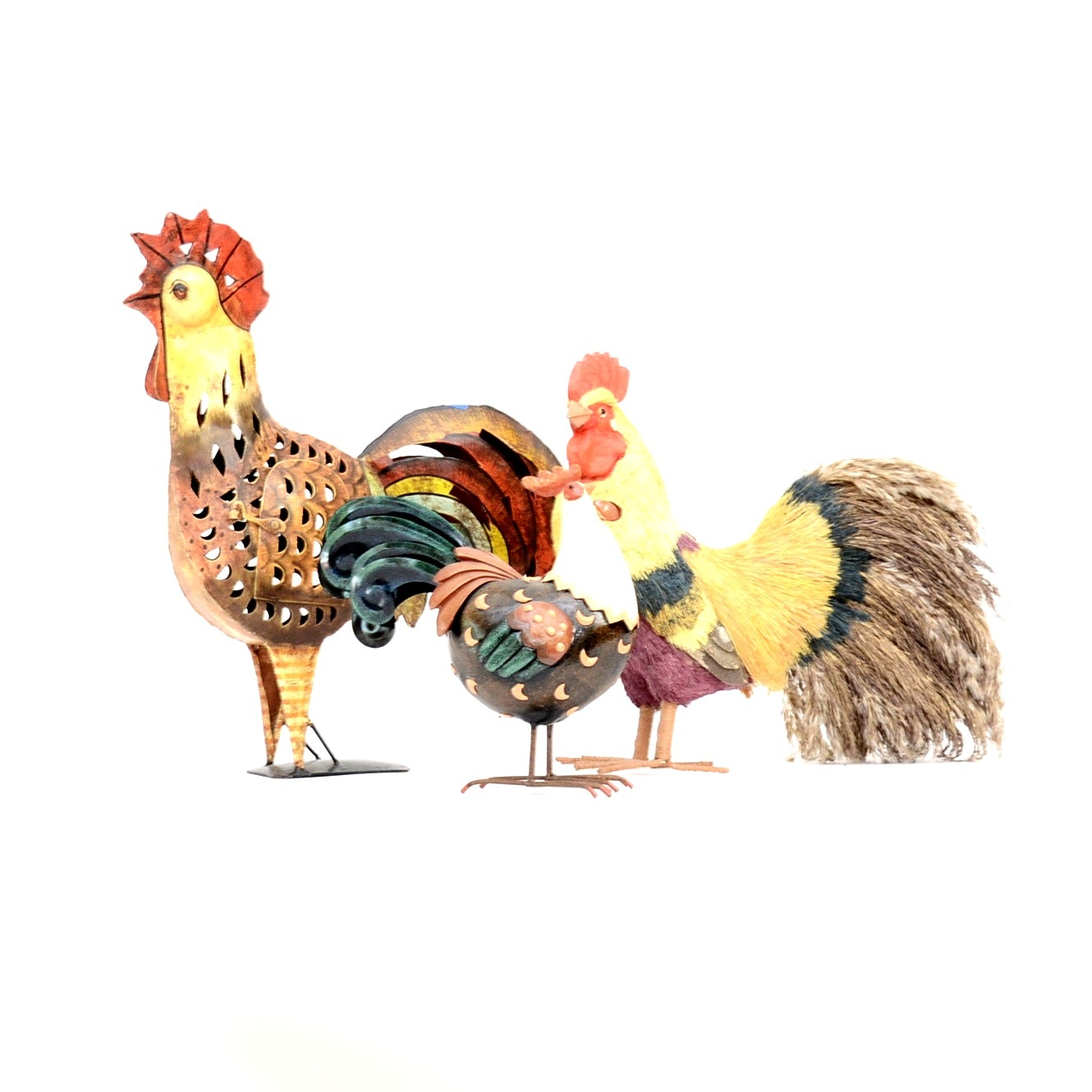 Grouping of Rooster Figurines