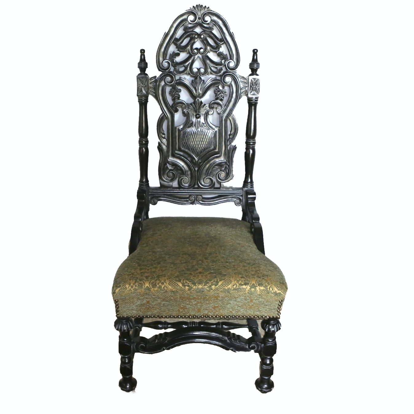 Dark Wooden Gothic Revival Style Side Chair