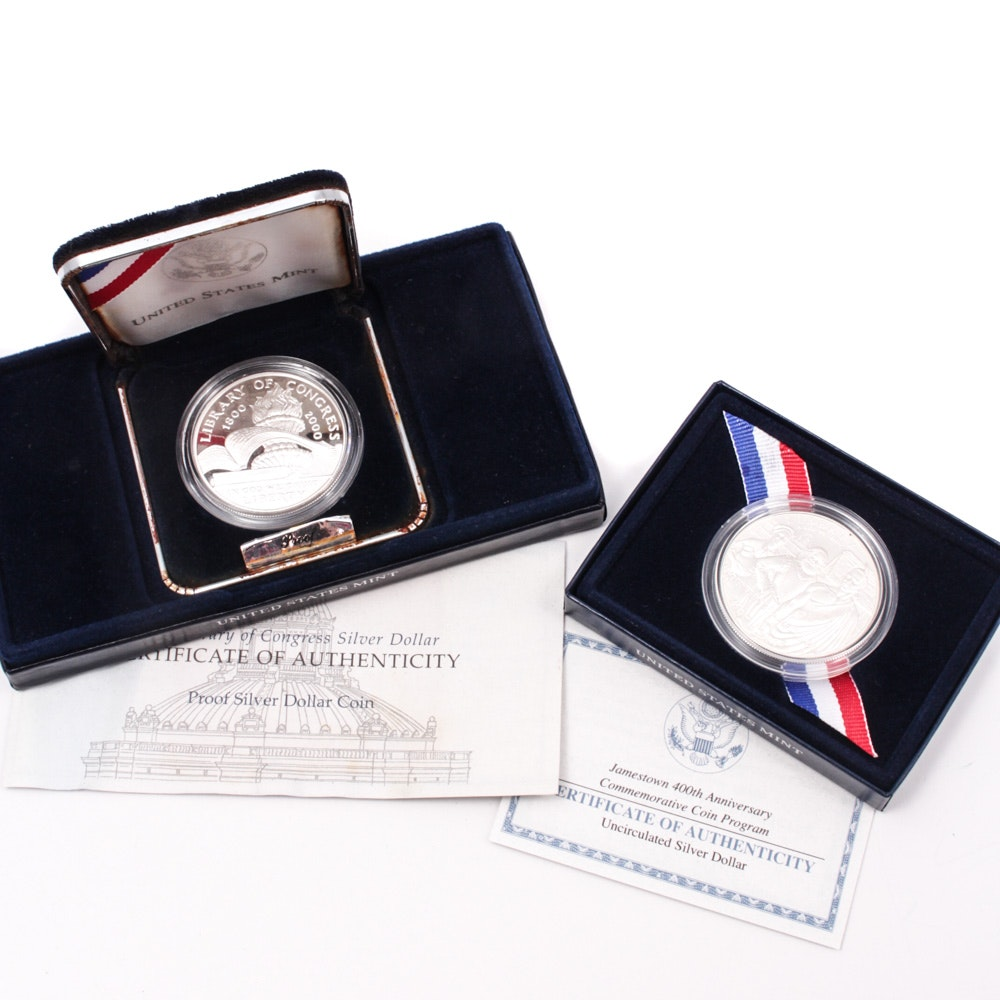 Jamestown 400th Anniversary and 2000 Library of Congress Silver Proof Dollars