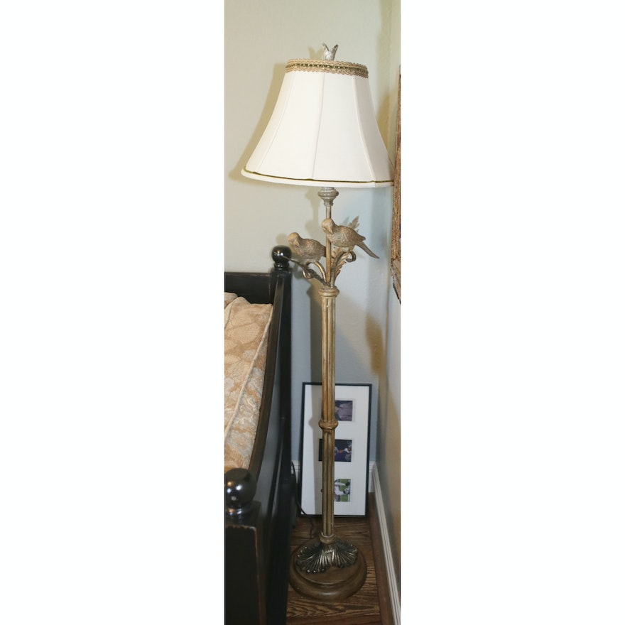 Metal floor lamp with sculpted bird accents ebth metal floor lamp with sculpted bird accents aloadofball Choice Image