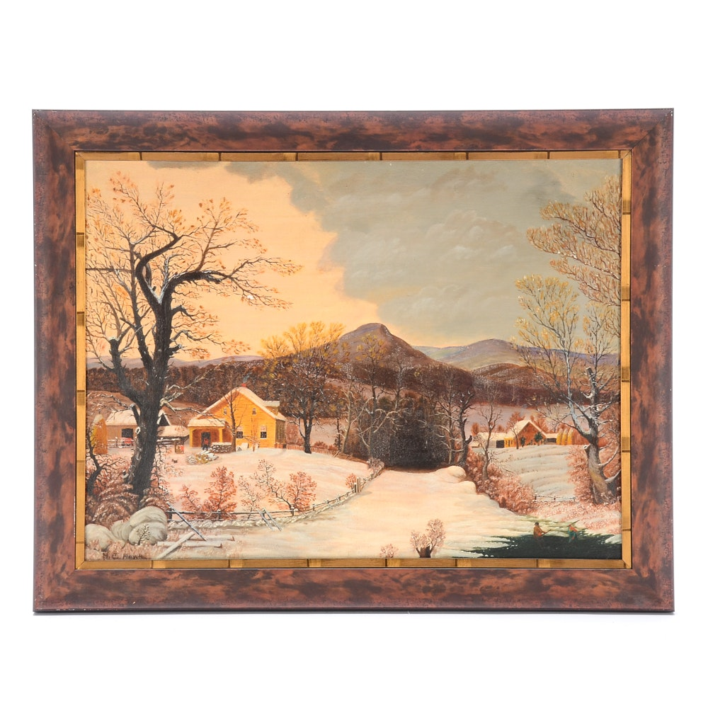 "Morgan C. Howle Original Oil Painting on Board ""The Country Home"""