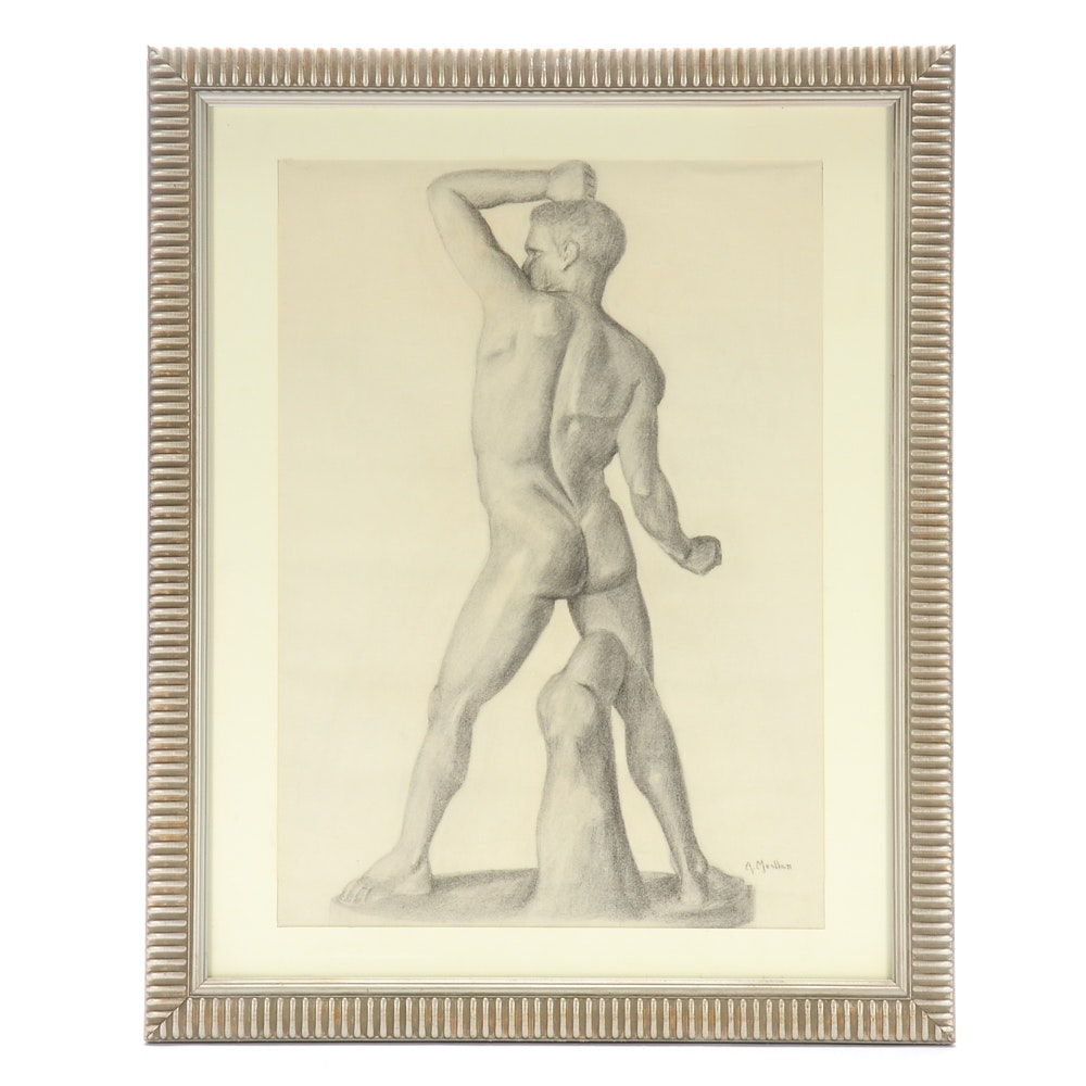 A. Mueller Original Charcoal Nude Male Figure Drawing on Paper