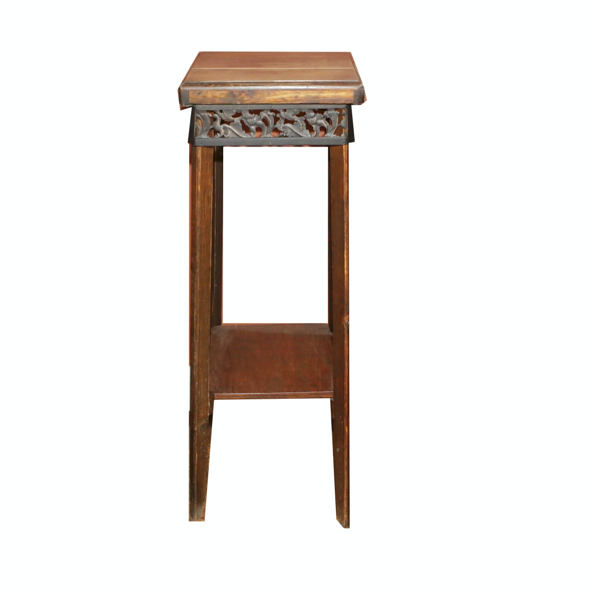 Wooden Plant Stand with Pierced Metal Apron