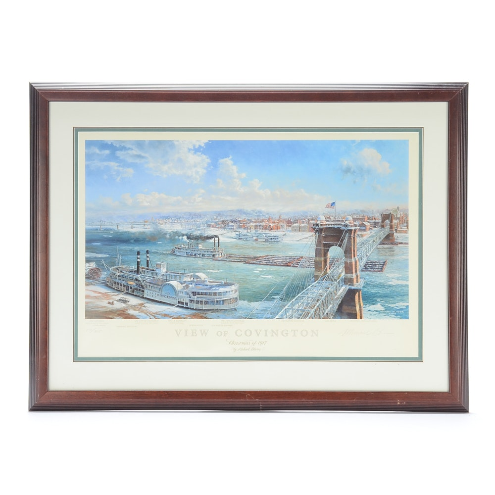 "Michael Blaser Signed Limited Edition Offset Lithograph ""View of Covington"""