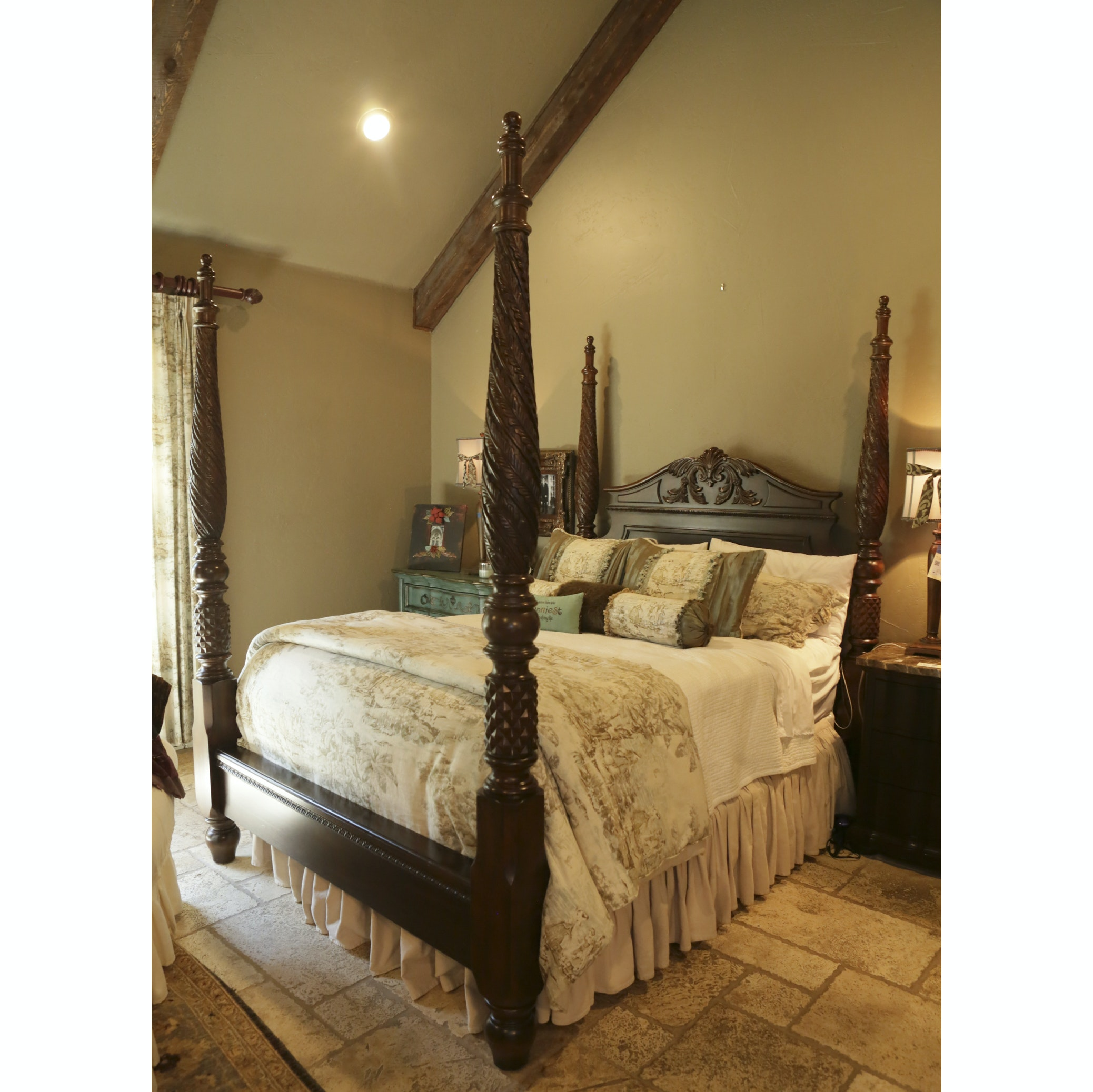 French Provincial Style Queen Size Four Poster Bed Frame