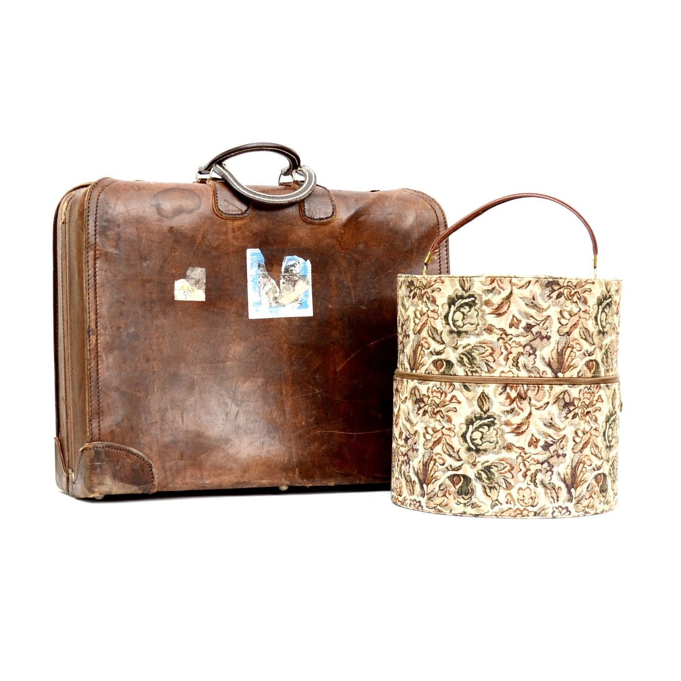 Vintage Leather Suitcase and Hat Box