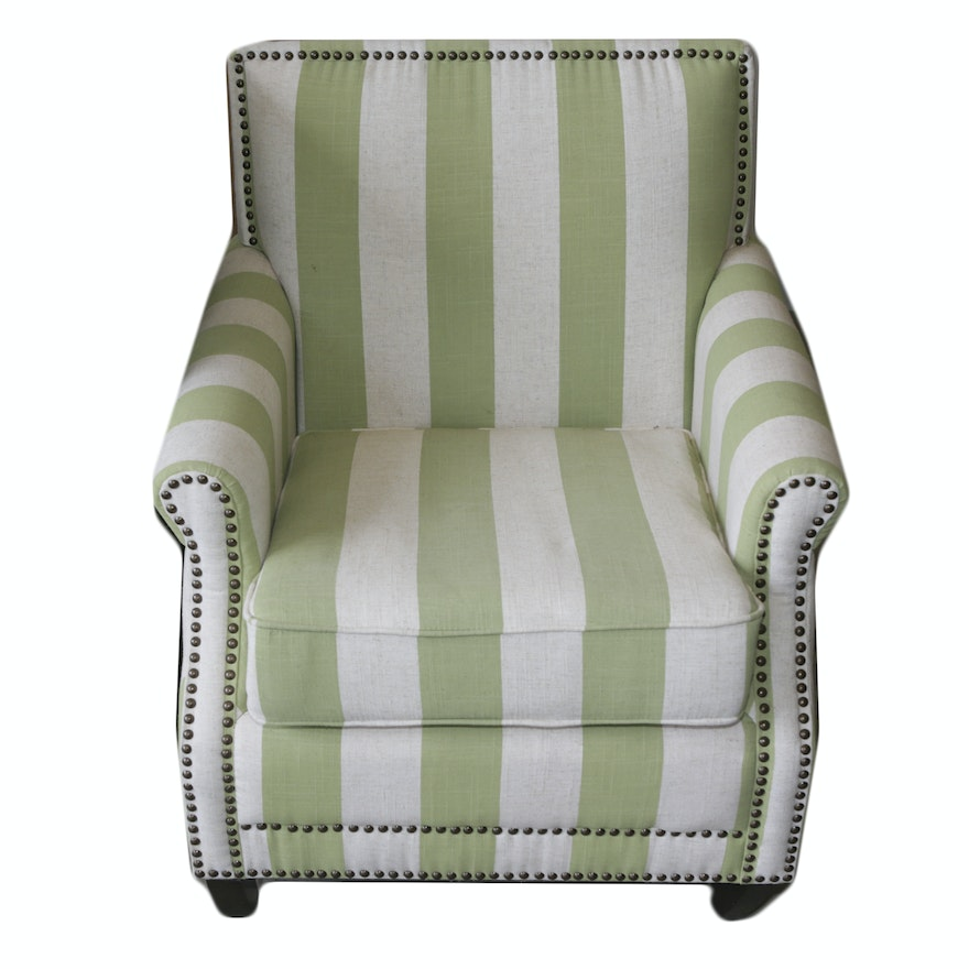 Green And White Striped Upholstered Armchair
