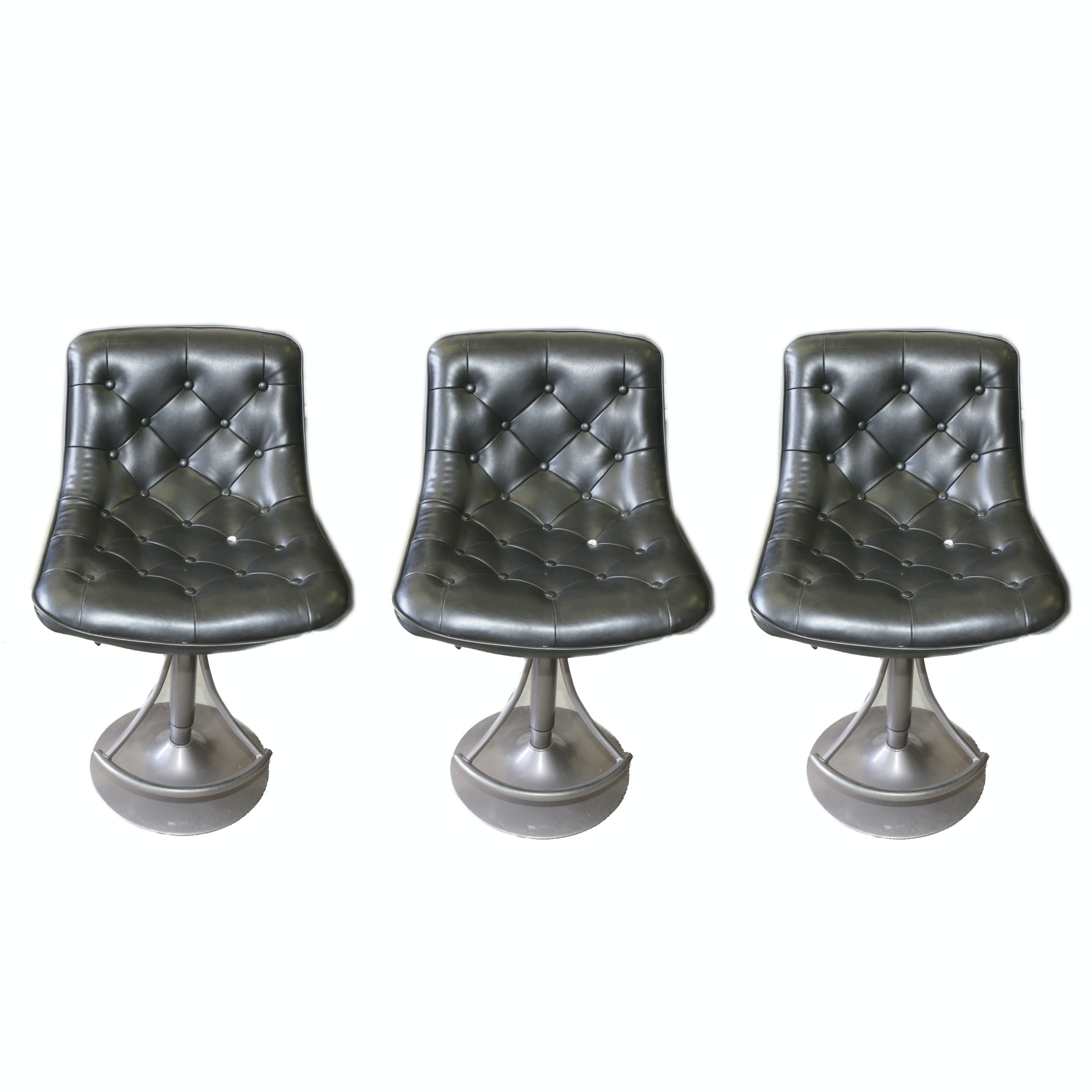 Faux Leather Tufted Bar Stools With Metal Bases