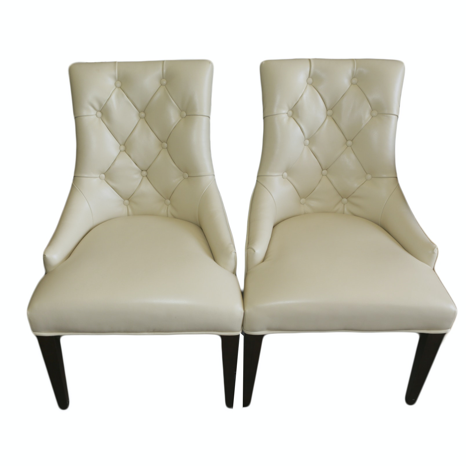 Contemporary White Vinyl Side Chairs