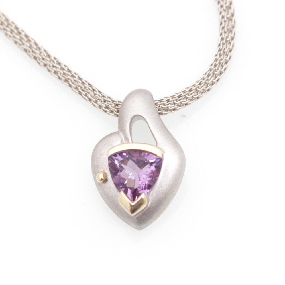 Sterling Silver Amethyst Pendant Necklace with 14K Yellow Gold Accent