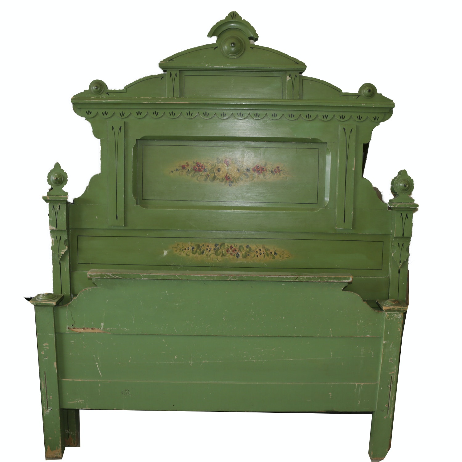Antique Victorian Eastlake Green Painted Full Size Headboard and Footboard