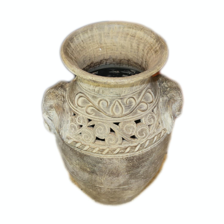 Asian Inspired Reticulated Elephant Themed Ceramic Vase