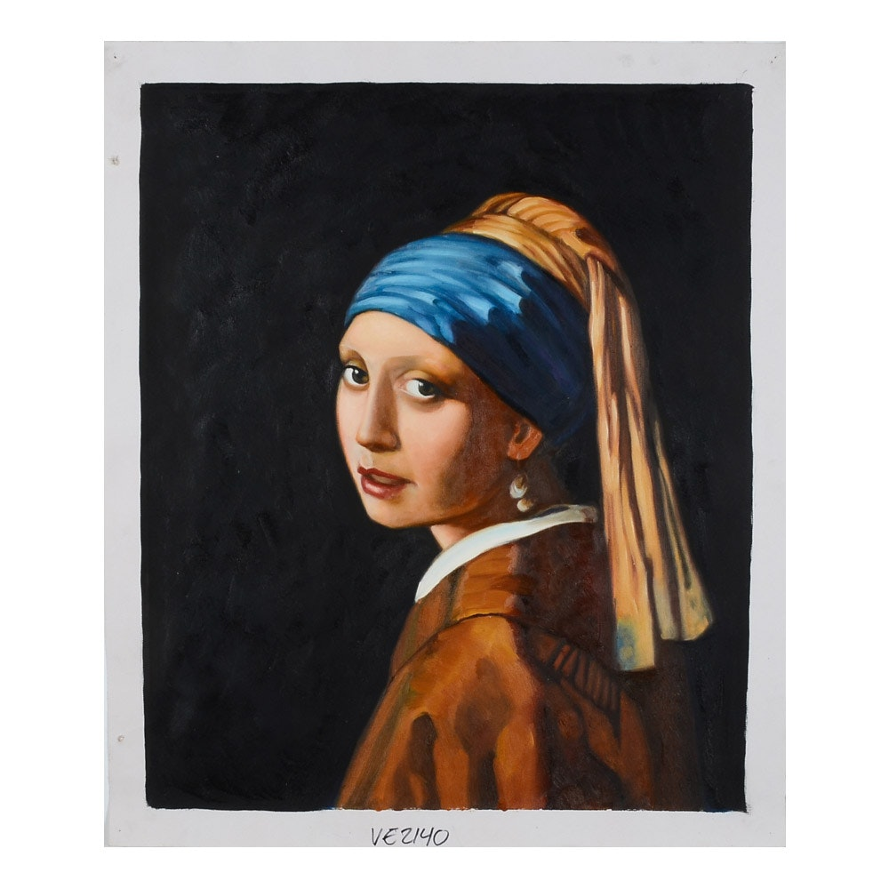 """Oil on Canvas Copy Painting after Johannes Vermeer """"Girl with Pearl Earring"""""""