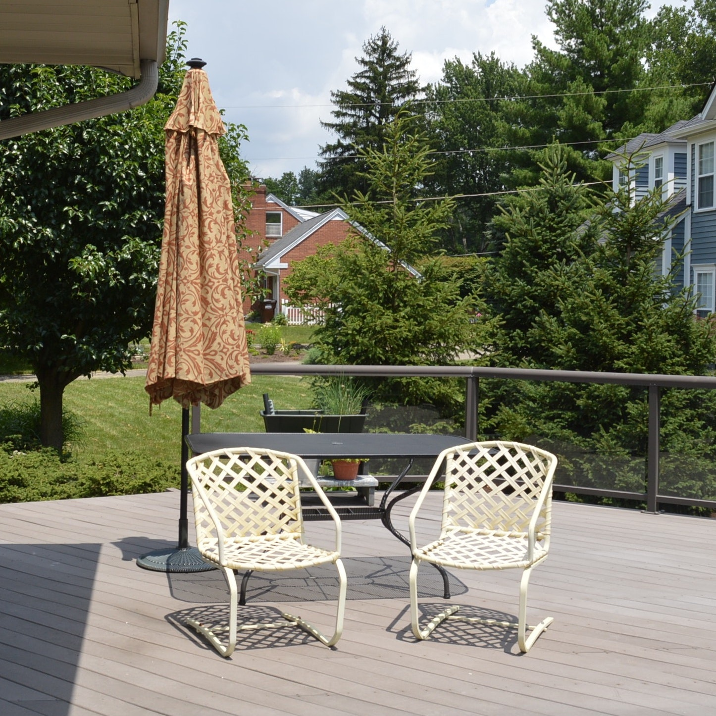 Patio Table, Umbrella with Stand and Two Chairs