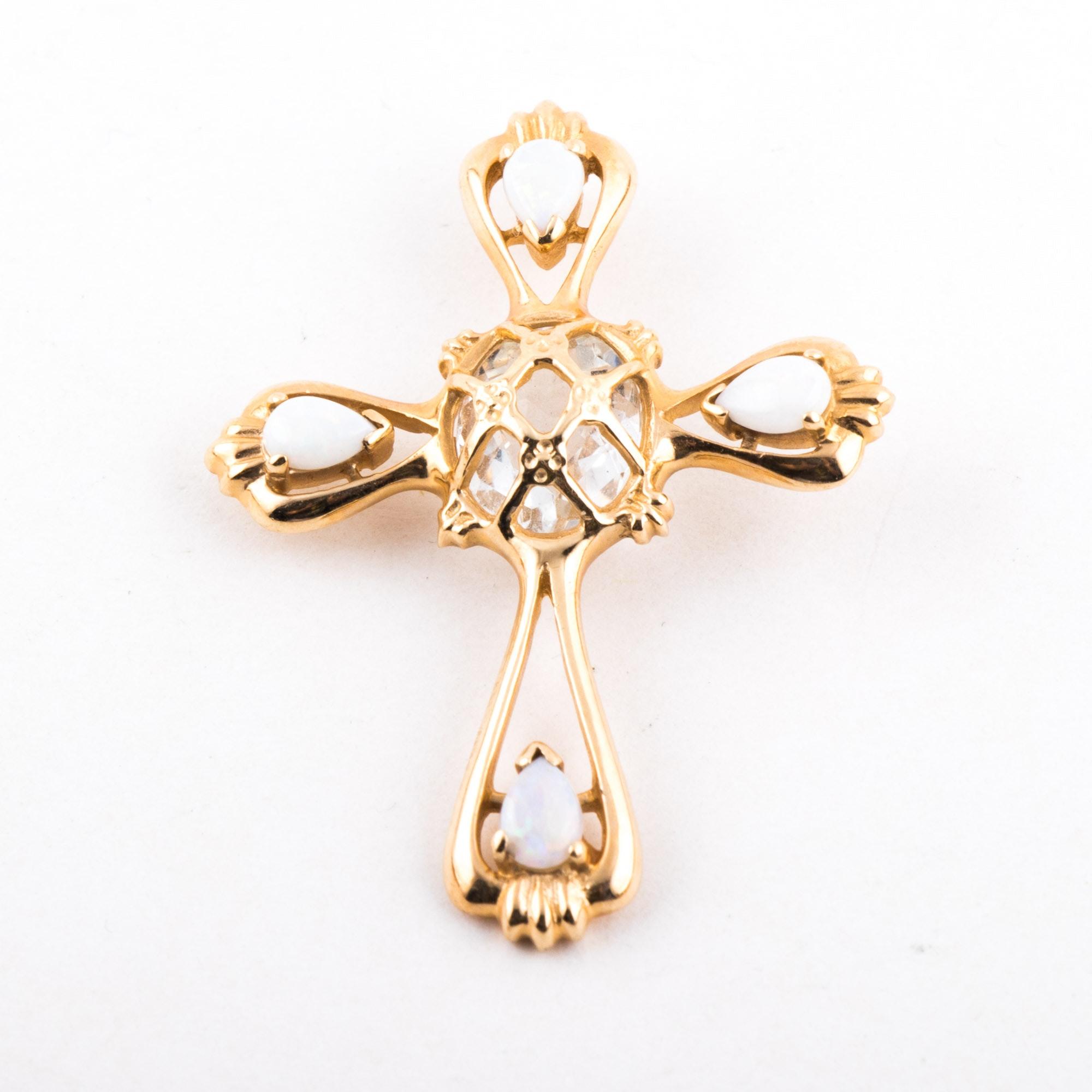 14K Yellow Gold, Quartz, and Opal Cross Pendant