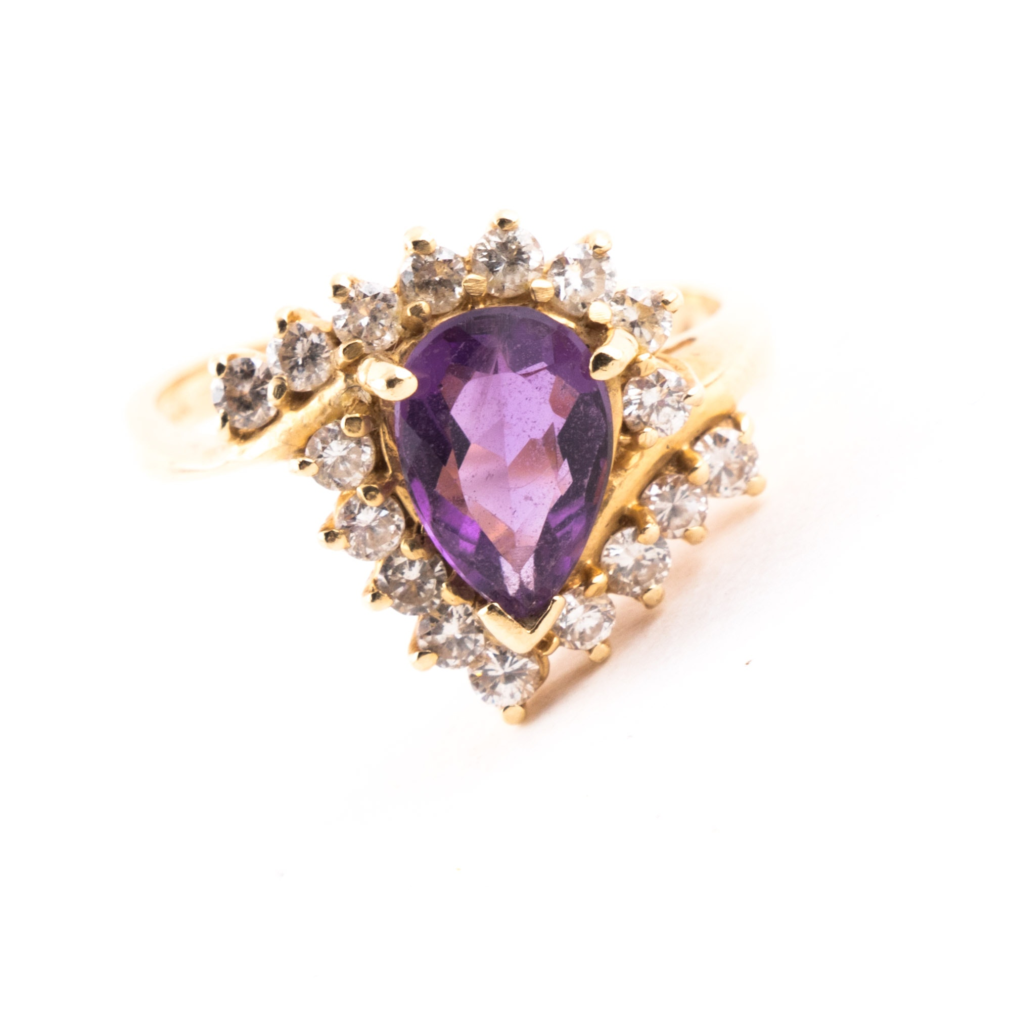 14K and 10K Yellow Gold, Amethyst, Diamond Ring