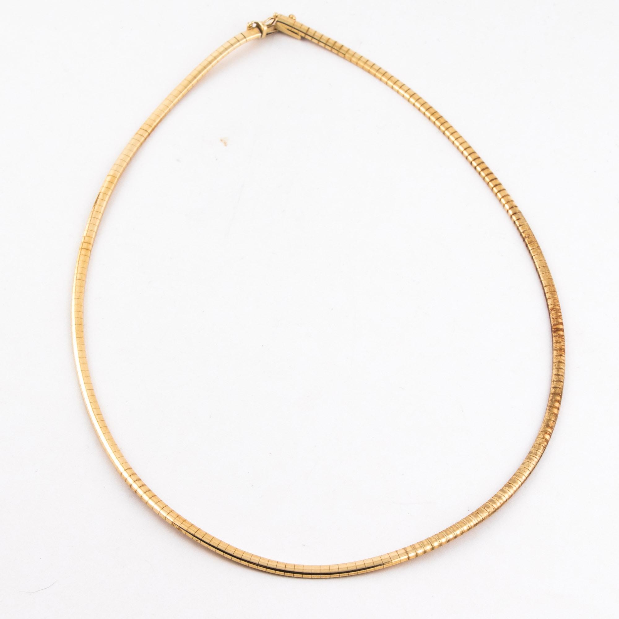 14K Yellow Gold Italian Omega Necklace
