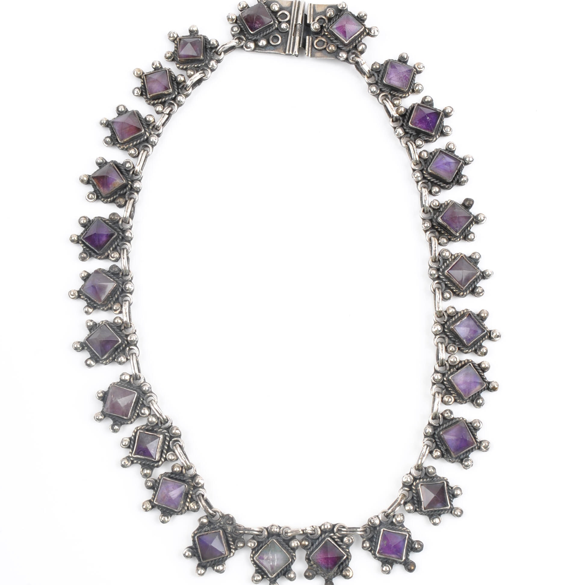 Taxco Sterling Silver 37.50 CTW Amethyst Necklace