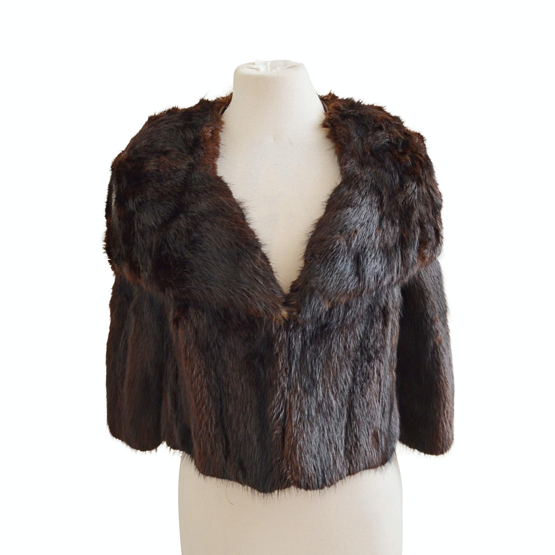 1940s-1950s Vintage Dyed Marten Fur Capelet