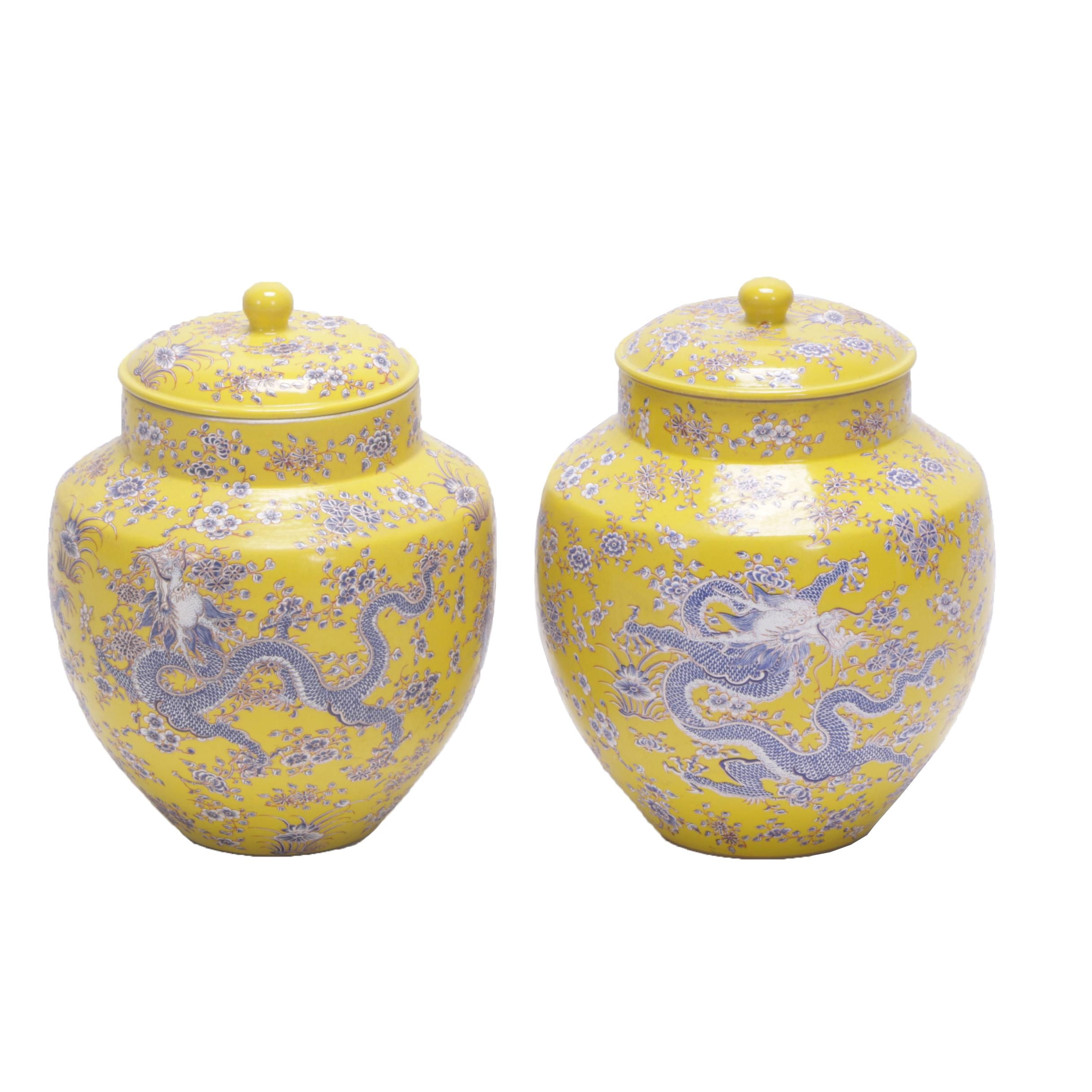 Chinese Hand-Painted Yellow Dragon Motif Porcelain Jars