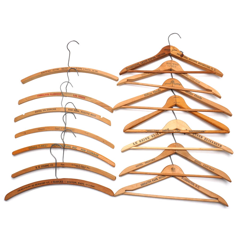 Vintage Wooden Hotel and Dry Cleaner Hangers