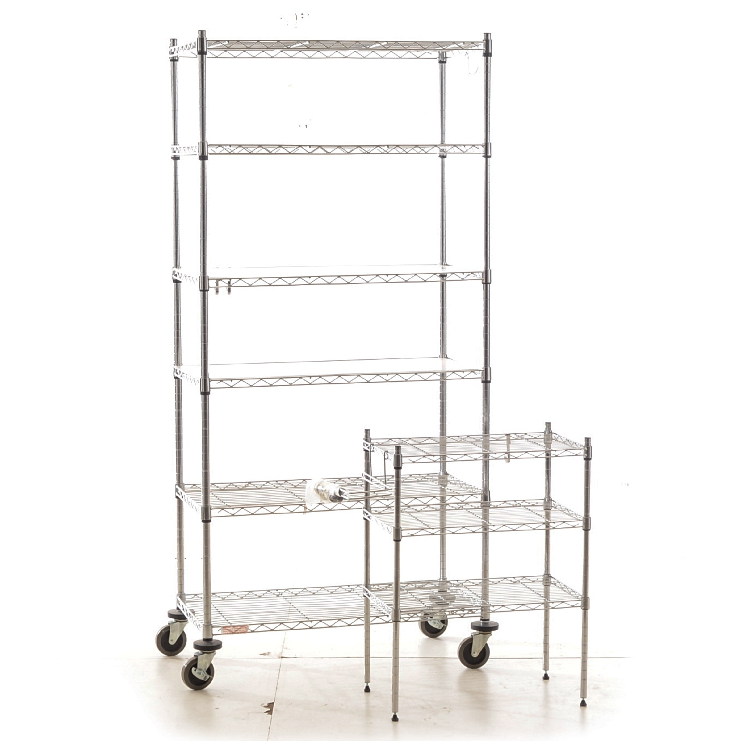 Two Chrome Wire Shelving Units