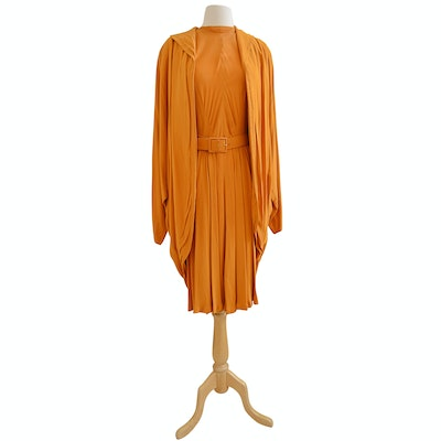 1940s Vintage Schwade Golden Saffron Crepe Dress and Coat Ensemble