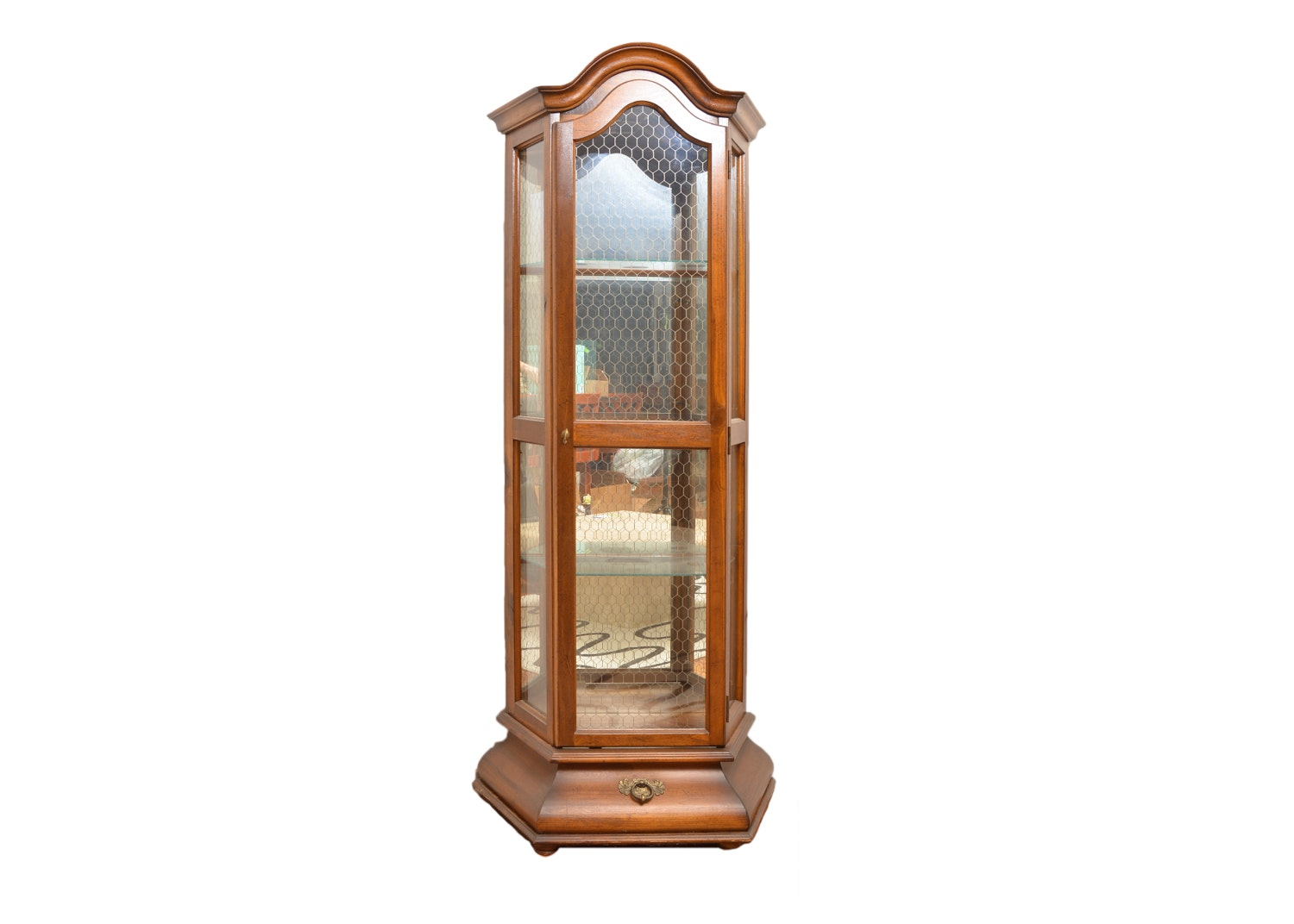 Mediterranean Style Curio Cabinet with Honeycomb Overlay to Glass